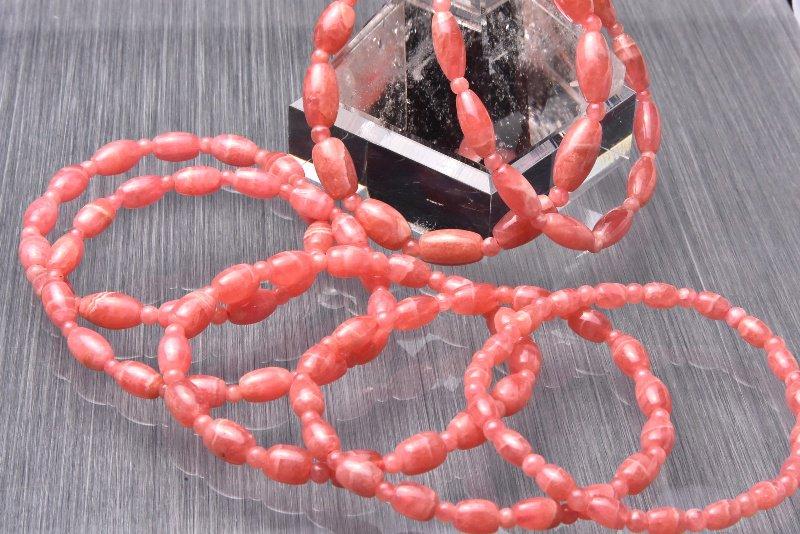 高品質美しい インカローズ 13.5x6.5mm ブレスレット_B421-17 天然石 卸売問屋 パワーストーン卸通販の福縁閣 ブレスレット 連ビーズ