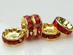 平型 4mm 金ロンデル(レッド)  (100粒入り) _KZ6-4 天然石 卸売問屋 パワーストーン卸通販の福縁閣 ブレスレット 連ビーズ アクセサリー