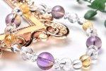 水晶の変色種・アメジストとシトリンの絶妙な融合が調和したエネルギーの「源」 当店オリジナルブレス 天然石パワーストーン_A763