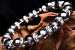 運気上昇・ブラッククラック水晶×シルバーオーラのギラギラ輝くメインブレス 当店オリジナルブレス 天然石パワーストーン_A780