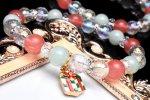水晶オーラクリスタル(チャーム付き)ひすい×チェリークォーツ クリスマス 当店オリジナルブレス_A1019
