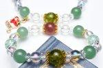 水晶オーラクリスタル(チャーム付)ペリドットxストロベリークォーツ クリスマス 当店オリジナルブレス_A1020