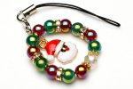 クリスマス ストラップ サンタクロース×リース(オーラ) 35mm パワーストーン 当店オリジナル_A1027