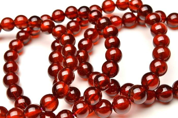 AAA高品質 オレンジガーネット 9.5mm ブレスレット_B263-95 天然石 卸売問屋 パワーストーン卸通販の福縁閣 ブレスレット 連ビーズ
