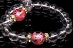 【青龍シリーズ】 水晶青龍ピンク彫12mmx水晶10mm ブレスレット_B811-1