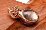 ピンクゴールド ギベオン 9x6.5mm ペンダントトップ バチカン_PR3097-3
