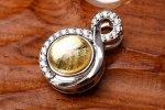 ゴールド ギベオン 8mm (シルバー土台)ペンダントトップ バチカン_PR3099-1
