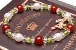 楽しいクリスマス!カーネリアンxペリドット クリスマスカラーブレスレット パワーストーン 当店オリジナル_A1094