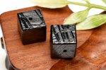 ギベオン 8mm ブラック キューブ型 一粒売り ビーズ_T623-8