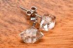 Silver925 珍しい! ハーキマーダイヤモンド 8-9x4-6mm ピアス_PR3282