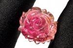【1点物】バイカラー トルマリン 19x16mm 薔薇彫刻 ルース_PH2816