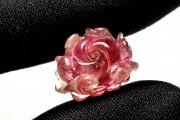 【1点物】AAA高品質 トルマリン 16x8mm 薔薇彫刻 ルース_PH3317