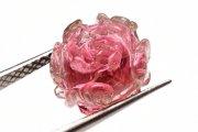 【1点物】AAAAA トルマリン 13x15mm 薔薇彫刻 ルース_P6812