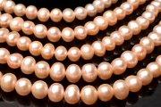 ピンクオレンジ 淡水真珠パール 7-8mm セミラウンド〜ポテト型 1連(約38cm)_RG414
