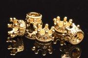 ゴールド ジルコニア入り ミルククラウン型 王冠パーツ 11x7mm 5粒セット 金属パーツ_KZ138