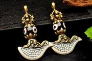 Silver925 チベット密教法具 三眼天珠 43x26mm カルタリ ペンダントトップ 1個売り_PRG575