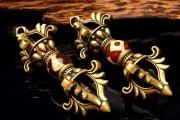 Silver925 チベット密教法具 天珠 74x26mm 金剛杵 ヴァジュラ ペンダントトップ 1個売り_PRG576 【宅急便のみ】