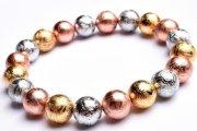 【1点物】宇宙からの贈り物 三色ギベオン(メテオライト隕石) 10mm ゴールド&シルバー&ピンクゴールド ブレスレット_I7743