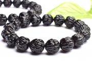 黒水晶モリオン 11mm 蓮花一級彫刻 ブレスレット 1個売り_BG2561-11