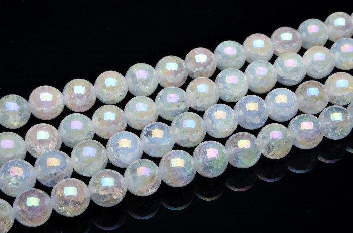 水晶オーラクラック 20mm 1連(約38cm)[R22] 天然石 卸売問屋 パワーストーン卸通販の福縁閣 ブレスレット 連ビーズ