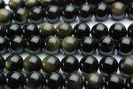ゴールデンオブシディアン 12mm 1連(約38cm)_R446 天然石 卸売問屋 パワーストーン卸通販の福縁閣 ブレスレット 連ビーズ アクセサリー