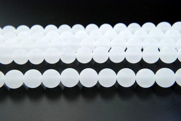 水晶 フロスト 10mm 1連(約38cm)_R1099 天然石 卸売問屋 パワーストーン卸通販の福縁閣 ブレスレット 連ビーズ