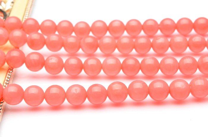 ピンクコーラル 6mm 1連(約38cm)_R1102 天然石 卸売問屋 パワーストーン卸通販の福縁閣 ブレスレット 連ビーズ