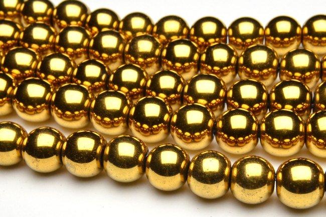 ヘマタイト ゴールドコーティング 2mm 1連(約38cm)[R1721-2] 天然石 卸売問屋 パワーストーン卸通販の福縁閣 ブレスレット 連ビーズ