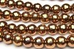 ヘマタイト 128面カット ブロンズカラーコーティング 10mm 1連(約38cm)[R1726-10]