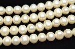 淡水真珠パール セミラウンド〜ポテト型 ホワイト 8〜9mm 1連(約36cm)_R1919