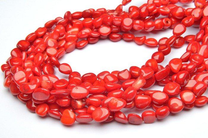 レッドコーラル(赤珊瑚) ミニタンブル 8x9mm 1連(約38cm)_R1958 天然石 卸売問屋 パワーストーン卸通販の福縁閣 ブレスレット 連ビーズ