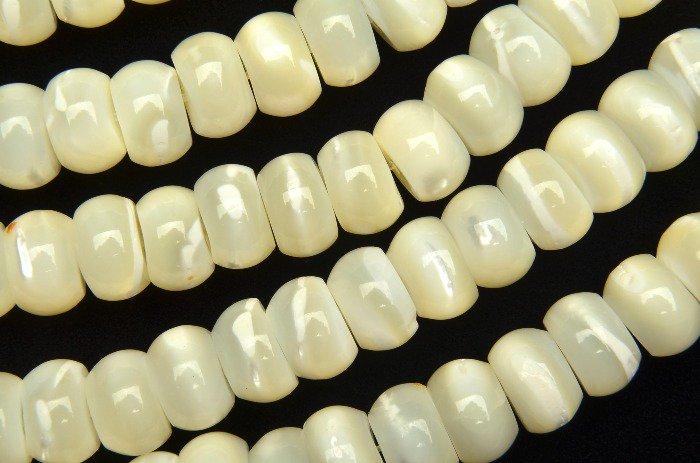 マザーオブパール ボタンロンデル 5x8mm 1連(約35cm)_R2137 天然石 卸売問屋 パワーストーン卸通販の福縁閣 ブレスレット 連ビーズ
