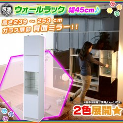 ウォールラック ガラス扉 幅45cm 上置き棚 セット 壁面収納 食器棚 収納棚 食品棚 ディスプレイラック 鏡面仕…