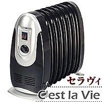 自動温度調節機能・二段切替 ミニオイルヒーター7枚フィン/ブラック 転倒OFF装置付