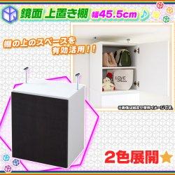 ウォールラック用 上置き 棚 幅45.5cm 壁面収納用 上棚 本棚 書棚 収納棚 開き戸 突っ張り式 上 棚 鏡面仕…