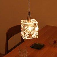 オシャレな空間照明 キューブ型のガラスシェードペンダントライト/1灯 ワンタッチ取り付け