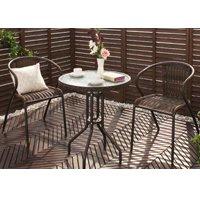 ラタン調カフェテーブル&チェア2脚セット アジアンテイストガーデンファニチャー 強化ガラス天板