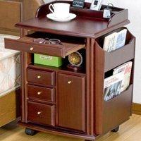天然木製ベッドサイドテーブル/ゴミ箱付 スライドテーブル・コンセント搭載便利ワゴン キャスター付