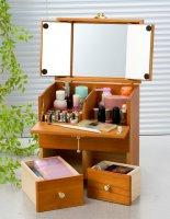 三面鏡付コンパクトメイクボックス/全2色 化粧品・道具をすっきり収納コスメボックス 引出し付き