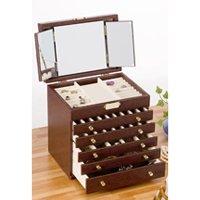 三面鏡付レザー調アクセサリーボックス/全2色 オシャレなジュエリーボックス 天然木桐材