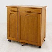 2分別 木製ダストボックス 引出し2杯付 幅63cm 分別ゴミ箱 16L 20L キッチン用ごみ箱 キャスター付