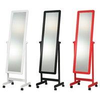 オシャレな大型スタンドミラーキャスター付/全3色 つやつや鏡面塗装、幅広姿見鏡 角度調整可能