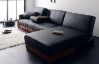 大型 リビングソファ/黒(ブラック) テーブル付 デイベッドタイプ 収納付 ソファベッド ソフトレザー