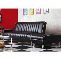 60'sアメリカン収納スツール付ソファベッド/全3色 多機能3段階リクライニングソファ 合皮レザー仕様