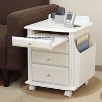 天然木製ベッドサイドテーブル便利ワゴン/全3色 スライドテーブル・コンセント搭載 キャスター付
