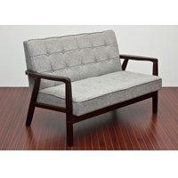 レトロ調ファブリックソファ 二人掛け 幅114cm 2P 2人用 待合室用ソファー 天然木フレーム