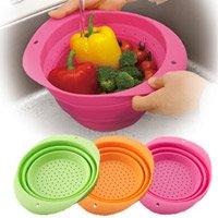 コンパクトに収納!たためるシリコンざる/全3色 パスタの湯きり・野菜の水洗いに大活躍 ハンドル付