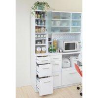 キッチン用 すきま収納 幅20cm 調味料棚 食器棚 すきまラック 台所用収納ラック ミストガラス扉仕様