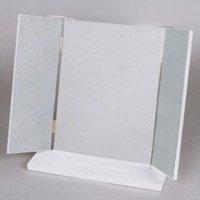 オシャレなコンパクト三面鏡/全4色 メイク・化粧用かわいい卓上ミラー・化粧鏡 角度2段階調整