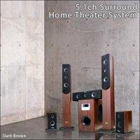 5.1chホームシアターセット/ブラウン サラウンドスピーカーシステム AC3ドルビー光デジタル方式